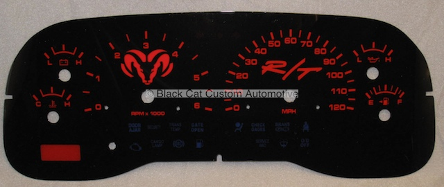 1998 1999 Dodge Dakota High Gloss Black And Red Custom Gauge Face Manual Mph Special Price 99 00 1 Available