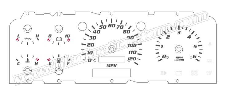 1992 1996 Ford F150 Lightning Gauge Face