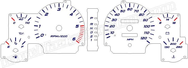 1994-1997 dodge ram truck gauge face