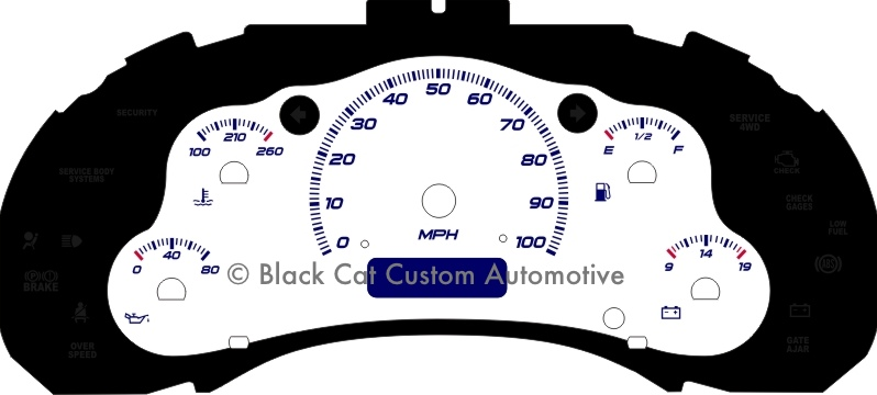Black cat custom automotive chevy s10 xtreme blazer gauge 98 05 s10 gauge face no tach gauge cluster not included freerunsca Images