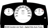 98-99 Cavalier Digital ODO without Tach Gauge Face Auto