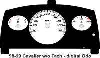 98-99 Cavalier Digital ODO without Tach Gauge Face