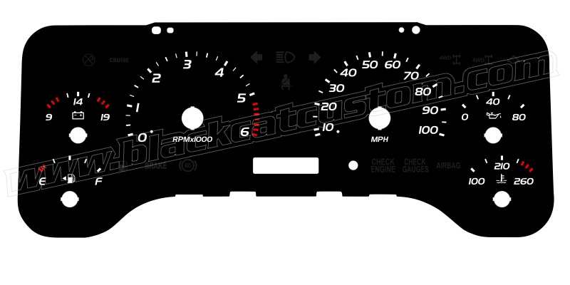 Black Cat Custom Automotive Jeep Wrangler Gauge Faces