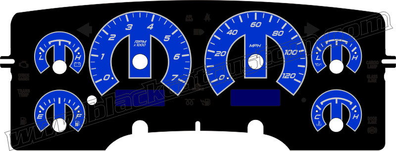 Black Cat Custom Automotive Dodge Ram Truck Gauge Faces